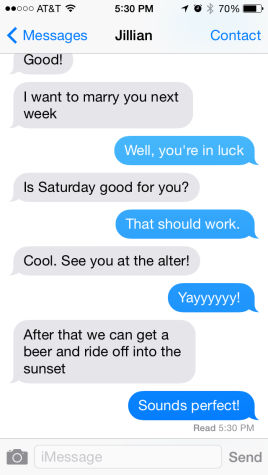Pre-wedding text message